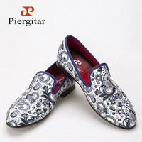 Piergitar 2016 new style Cashew flowers fabric prints men dress shoes Chinese style wedding and party men loafers men's flats