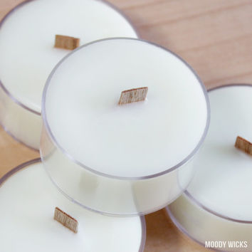 25 Unscented Wooden Wick Tealight Candles - Natural Soy Palm Wax - Eco-Friendly - Great for Wedding or Event