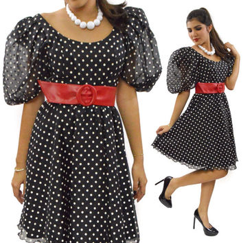 Vintage 80s does 50's Jolie Madame Polka Dot Pinup High Waisted Puffy Sleeves Dress