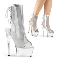 """Sky 1018 MSH Silver Mesh Clear Platform Ankle Boot 7"""" Exotic Heel"""