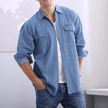 Men's Denim Long-Sleeve Solid Color Shirt