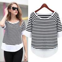 Round Neck Splicing T-Shirt