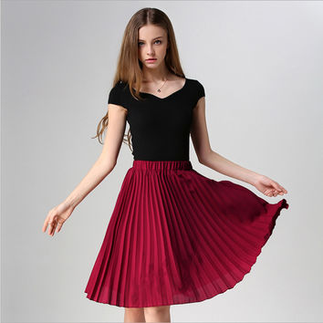 Pleated skirt to restore ancient ways of tall waist skirts Wine red