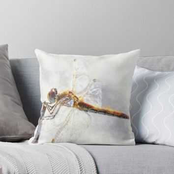 'Platinum White Dragonfly Watercolor' Throw Pillow by taiche