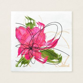 Blush Pink Olive Painted Daisy Paper Napkins
