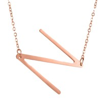 Fashion Letter Pendants alphabet Initial Necklace Rose Gold color Stainless Steel  Necklace Women Jewelry