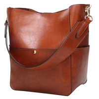 Molodo Womens Satchel Hobo Stylish Top Handle Tote PU Leather Handbag Shoulder Purse