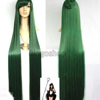 1.3m NEW Sailor Moon Sailor Pluto Meiou Setsuna Long Straight Green Cosplay Wig