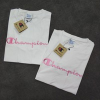 """Champion"" Women Casual Simple Sweet Pink Letter Embroidery Short Sleeve T-shirt Top Tee"