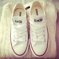 Womens White Converse Fashion Canvas Flats Sneakers Sport Shoes