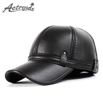 [AETRENDS] Winter Leather Baseball Cap Men Polo Hat with Ears Warm Hats Z-3861