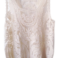 ROMWE | ROMWE Lace Crochet Sleeveless Cream Vest, The Latest Street Fashion