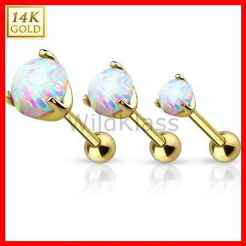 14K Gold Ring Opal Prong Set CZ Yellow Solid Gold Cartilage Tiny Stud Earring Tragus Earring Helix Piercing Tragus Jewelry Hex Ring Conch