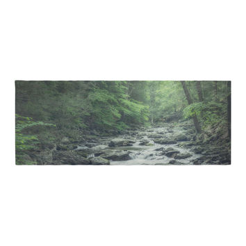 """Suzanne Harford """"Misty Forest Stream"""" Nature Photography Bed Runner"""