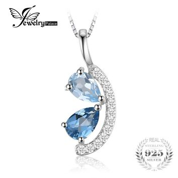 JewelryPalace 1ct Genuine Sky Blue Topaz and London Blue Topaz Cluster Pendant Necklace 925 Sterling Silver Without the Chain