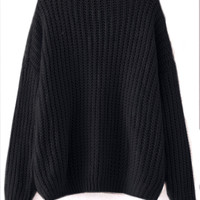Black Drop Shoulder Textured Sweater -SheIn(Sheinside)