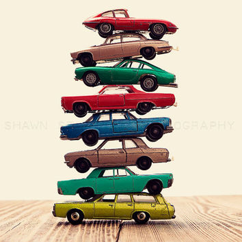 Vintage Stacked Matchbox, One 8x10 Photographic Print, Boys Room decor, Boys Nursery Prints