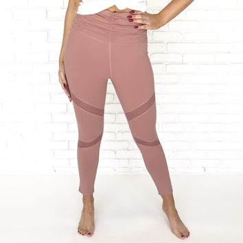 Rhythmic Ruched High Waist Yoga Pants in Dusty Rose
