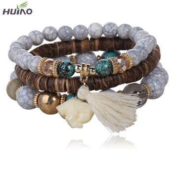 3pcs/set  White simulated-jade Elephant Wood Beads Brand Design Wild style Bracelet For Lady