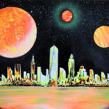 neon new york city skyline,neon orange new york poster,travel gifts,new york wall art,spray paint art,space poster,galaxy wall art,planets