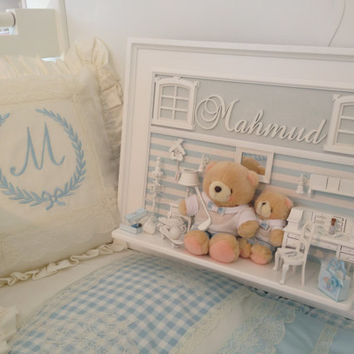 Personalized Letter Monogram,Custom Design Nursery and Baby Bedding Pillow Shabby chic,Nursery decor,Nursery room decor ,  baby boy and girl