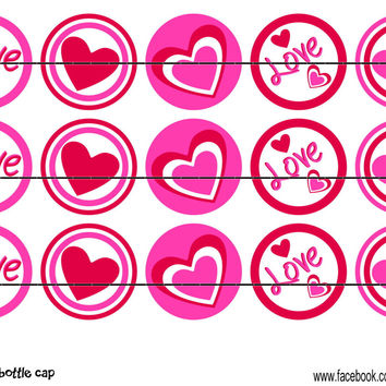 """Love Hearts Bottle Cap Images 1"""" Circles Instant Download Digital Emailed 4x6"""