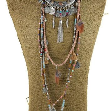 DCCKU62 Gypsy Statement Vintage Long Necklace Ethnic jewelry boho necklace tribal collar Tibet Jewelry
