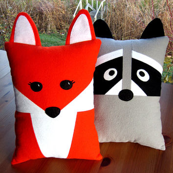 Fox & Raccoon Pillow Pattern PDF Sewing Tutorial with Baby Felt Animals and Pocket for Tooth Fairy or Accent Pillow, Toddler to Tween