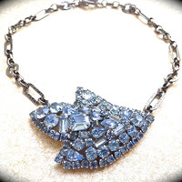 Large Blue Rhinestone brooch Necklace UniqueBridal Wedding Jewelry, vintage assemblage jewelry