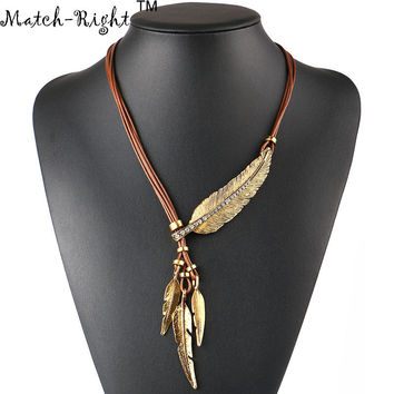 Women Necklace Alloy Feather Statement Necklaces Pendants Vintage Jewelry Rope Chain Necklace Women Accessories for Gift NL535