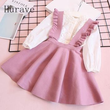 Hurave Autumn 2017 Girl Dress For Toddler Children Clothing Beautiful Knitted Ruffles Infantil Clothes C19L4