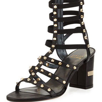 Stuart Weitzman Rivetcleo Gladiator City Sandal, Black