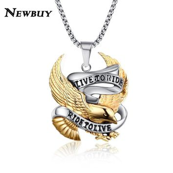 NEWBUY Stainless Steel Eagle Pendant Necklace For Men LIVE TO RIDE Link Chain Necklace Male Punk Jewelry Dropship USA