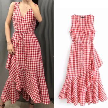 New summer versatile little fresh plaid show slim v-neck flounce dress