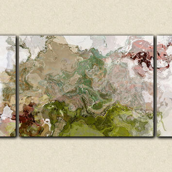 "Oversize contemporary triptych, 30x60 to 40x78 stretched canvas print in gray and green, ""Stone Ridge"""