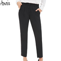 Amoin Bottoms Women Pants New 2017 Women Fashion Spring Summer Long Casual Pants Female Office Lady Black Work Trousers