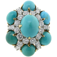 Glorious Van Cleef & Arpels Turquoise Diamond Gold Cocktail Ring