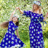 "Mother daughter matching dress! Floral Blue Maxi Dress ""SummerColor"" / Mom and daughter dresses, mommy and me outfits, matching mom and baby"
