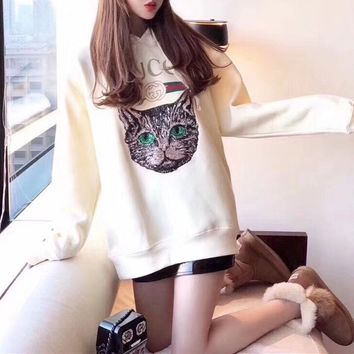 Gucci Women Long Sleeve Cat Pattern Loose  Round Neck Print Fashion Casual All-match Sweater