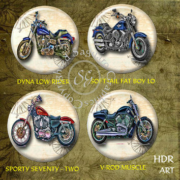 Harley Davidson Motorcycles Art - Digital Collage Sheets sg613 - 1.5, 1.0 inch Circles for Jewelry Supplies, Pendants, Bottle Caps, Crafts