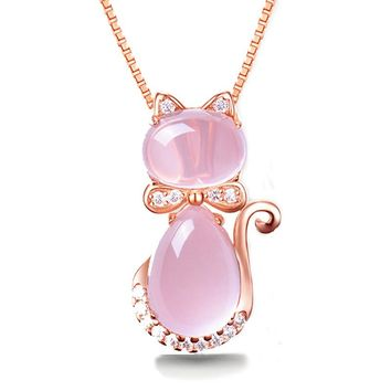 Cute Cat Ross Quartz Pink Opal Jewelry Necklace