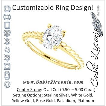Cubic Zirconia Engagement Ring- The Lolita (Customizable Oval Cut Style with Braided Metal Band and Round Bezel Peekaboo Accents)