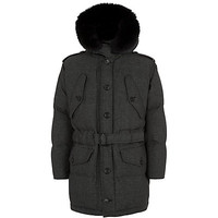 Burberry London Fur Hood Wool Parka