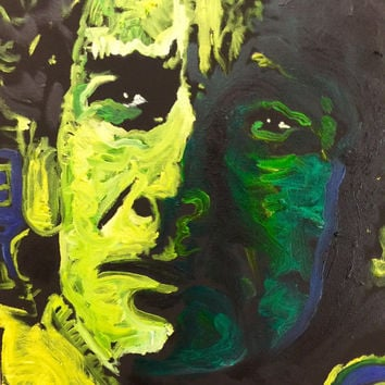 Original Oil Painting Pop Art Canvas Painting 18x24 Ayrton Senna Brazilian Formula 1 Racing Driver Race Car Decor Gifts for Him