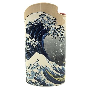 Hokusai Great Wave Off Kanagawa Japanese Ceramic Flower Vase 8.6H