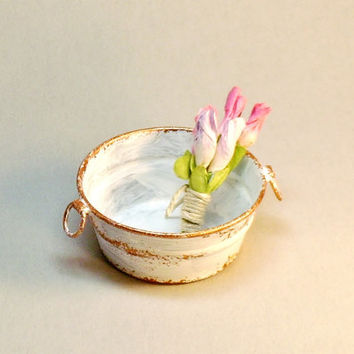 Dollhouse Miniature Shabby Metal Pail with Flowers Fairy Garden Wash Tub
