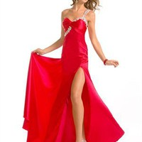 One Shoulder Sweetheart Beaded with Strap Satin Prom Dress PD1755