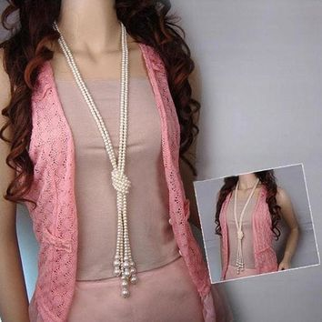 Long Knotted Pearl Bead Tassel Necklace