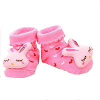Pink Bunny Socks - Infant/ Baby 3D Bootie Socks Anti / Non Slip 0-12 months