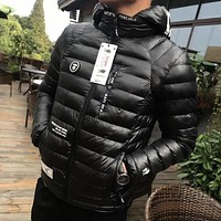 Aape Fashion Edgy Pattern Print Zip Hooded Down Jackets